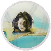 Round Beach Towel featuring the painting Elodie by Ed Heaton