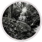 Elora Falls In Black And White Round Beach Towel