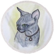Else The Sphynx Kitten Round Beach Towel