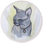 Else The Sphynx Kitten Round Beach Towel