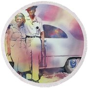Elsie And Barney Shields Round Beach Towel