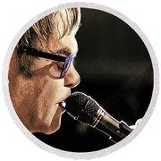 Elton John At The Mic Round Beach Towel