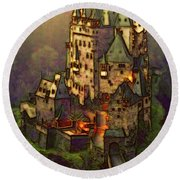 Eltz Castle Round Beach Towel by Michael Cleere