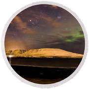Elv Or Troll And Viking With A Sword In The Northern Light Round Beach Towel