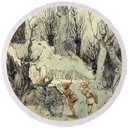 Elves In A Wood Round Beach Towel by Arthur Rackham