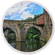Elvet Bridge, Durham City, England Round Beach Towel