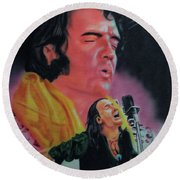 Round Beach Towel featuring the painting Elvis And Jon by Thomas J Herring
