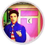 Elvis Has Left The House 20151225 Round Beach Towel