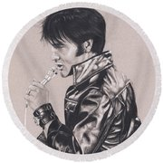 Elvis In Charcoal #177, No Title Round Beach Towel