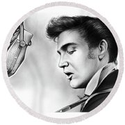 Elvis Presley Round Beach Towel by Greg Joens