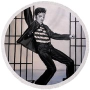 Elvis Presley Jailhouse Rock Round Beach Towel