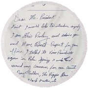 Elvis Presley Letter To President Richard Nixon Round Beach Towel