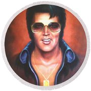 Round Beach Towel featuring the painting Elvis Presley by Loxi Sibley