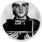 Elvis Presley Mug Shot Vertical 1 Round Beach Towel