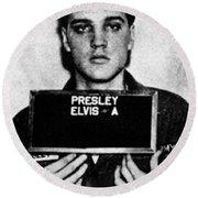 Elvis Presley Mug Shot Vertical 1 Round Beach Towel