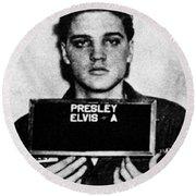 Elvis Presley Mug Shot Vertical 1 Wide 16 By 20 Round Beach Towel