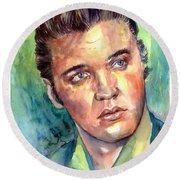 Elvis Presley Portrait Round Beach Towel