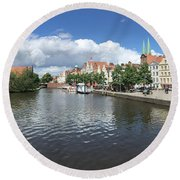 Embankment Of Trave In Luebeck Round Beach Towel
