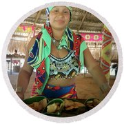 Embera Indian Lady Serving A Meal Round Beach Towel