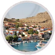Emborio Village On Halki Round Beach Towel