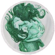 Embracing Mermen Round Beach Towel