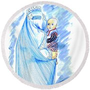 Embroidered Blue Lady-cage -- Woman In Burka Round Beach Towel