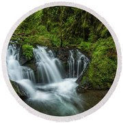 Emeral Falls Waterscape Art By Kaylyn Franks Round Beach Towel
