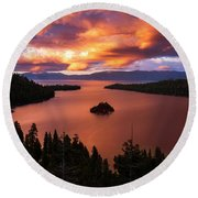 Round Beach Towel featuring the photograph Emerald Bay Fire by Brad Scott