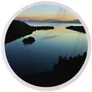 Emerald Bay, Lake Tahoe, Dawn Round Beach Towel