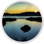 Round Beach Towel featuring the photograph Emerald Bay Summer Solstice by Mitch Shindelbower