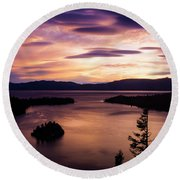 Emerald Bay Sunrise - Lake Tahoe, California Round Beach Towel