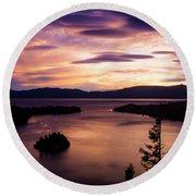 Emerald Bay Sunrise - Lake Tahoe, California Round Beach Towel