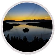 Round Beach Towel featuring the photograph Emerald Bay Sunrise by Mitch Shindelbower