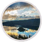 Emerald Bay Sunrise Rays Round Beach Towel by Brad Scott