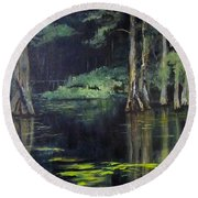 Emerald Bayou Round Beach Towel