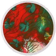 Emerald Butterfly Island Round Beach Towel