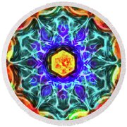 Emerald Circle Mandala Round Beach Towel