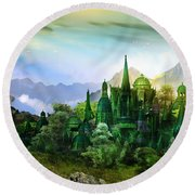 Emerald City Round Beach Towel by Mary Hood