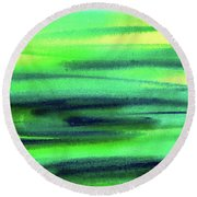 Emerald Flow Abstract Painting Round Beach Towel