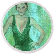 Round Beach Towel featuring the painting Emerald Greem by P J Lewis