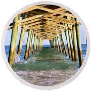 Emerald Isles Pier Round Beach Towel