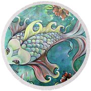 Emerald Koi Round Beach Towel