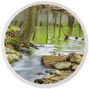 Emerald Liquid Glass Round Beach Towel