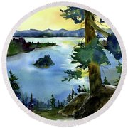 Emerald Morn, Lake Tahoe Round Beach Towel