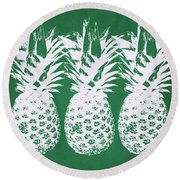 Round Beach Towel featuring the mixed media Emerald Pineapples- Art By Linda Woods by Linda Woods