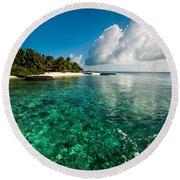 Emerald Purity. Maldives Round Beach Towel