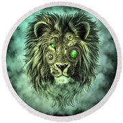 Emerald Steampunk Lion King Round Beach Towel