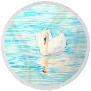 Emerald Swan Round Beach Towel