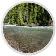 Round Beach Towel featuring the photograph Emerald Waters Flow by Margaret Pitcher