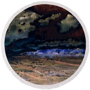 Round Beach Towel featuring the painting Emerging Darkness by Reed Novotny